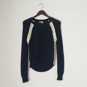 Urban Outfitters blue knitted white lace sweater